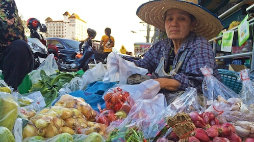 Fresh produce market during the day.