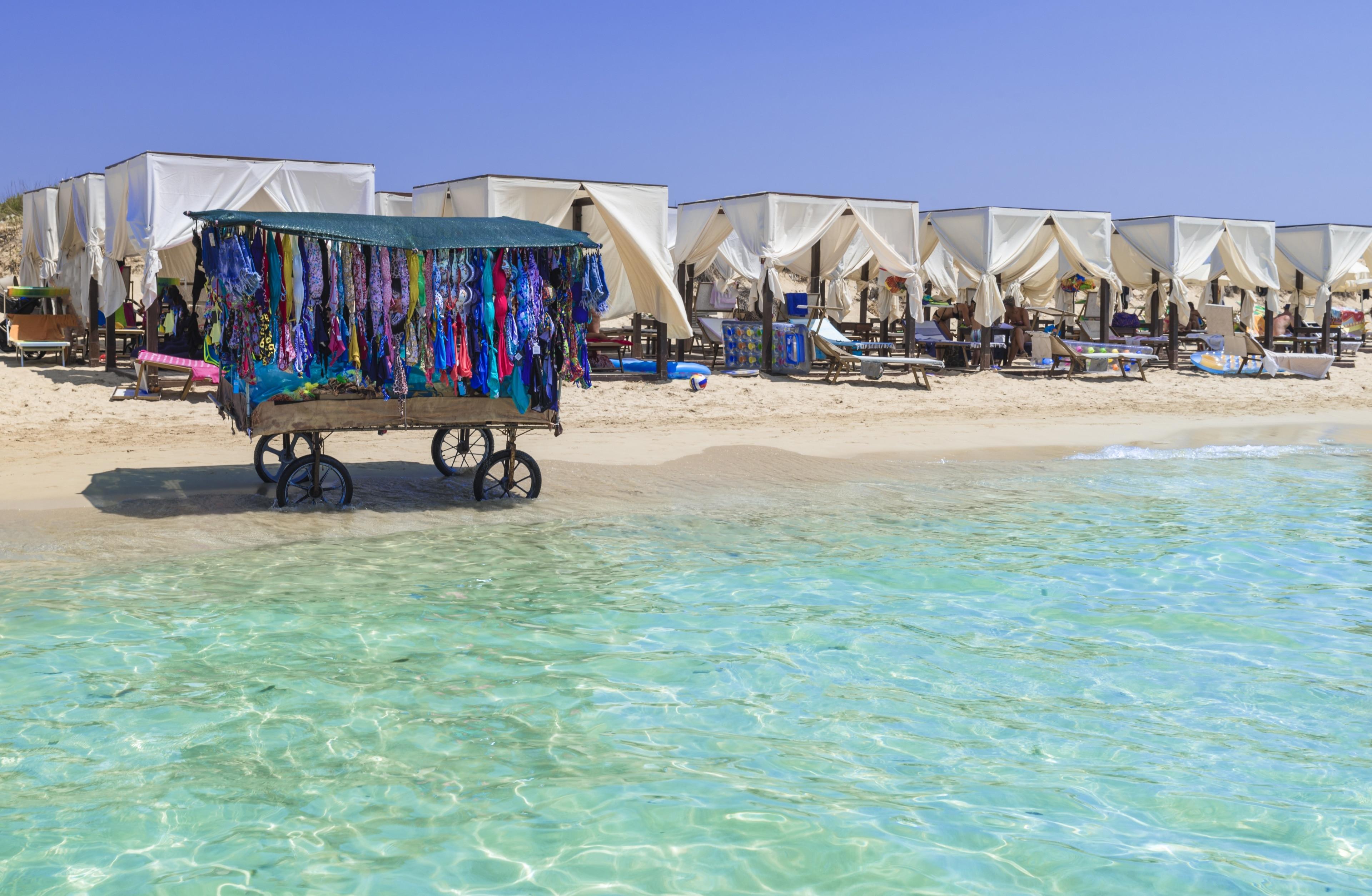 Spiaggia di Pescoluse (Maldive del Salento), Salve, Apulien, Italien