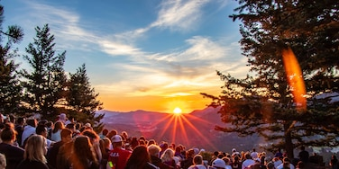 Around 200 high school students learning that with every sunrise there is a fresh start at Rocky Mountain Rotary Youth Leadership Awards.   If you are looking for a great sunrise hike at the YMCA of the Rockies Bible's Point is the way to go! #Adventure #Hiking #Sunrise #Rotary