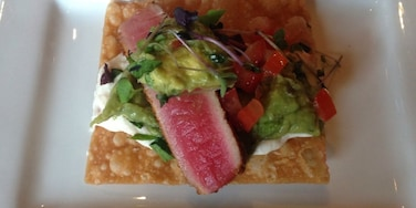 This is a part of the blackened tuna nachos. So good! They have really unique food combining fish and beef!