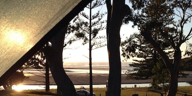 The early morning view from my tent...overlooking Moonee creek and Moonee beach beyond it. Stunning spot.