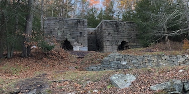 This was a really nice surprise-it's more then a hiking trail, it's a historical 19th century iron mine site.  Not far from the parking lot, is the location of where the mine used to be-pictured are the roasting ovens.  There is also a large furnace and several signs to learn about the mine and what the town used to look like in 1874.  The trail goes along the old Donkey Trail that was used to bring rock down from the quarry.  There are two main trails-about 6 miles total