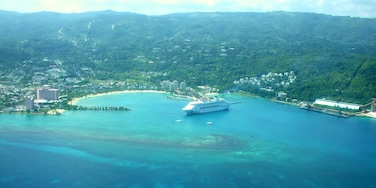 Beautiful aerial view of Montego Bay with a cruise ship in port. We stayed at the couples only, all-inclusive Couples Ocho Rios resort for 3 days and this was on our way to 4 days at the Couples Negril resort. I highly recommend both of the resorts.