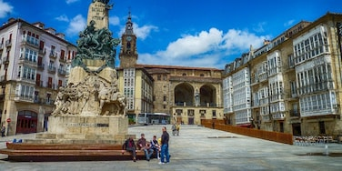 The plaza de la Virgen or the Old Square, is the main meeting point of Vitoria-Gasteiz. It is located between the neighbourhoods of Casco Viejo and the Eixample. It is surrounded by white houses and on the centre square, is located a monument in memory of the Battle of Vitoria