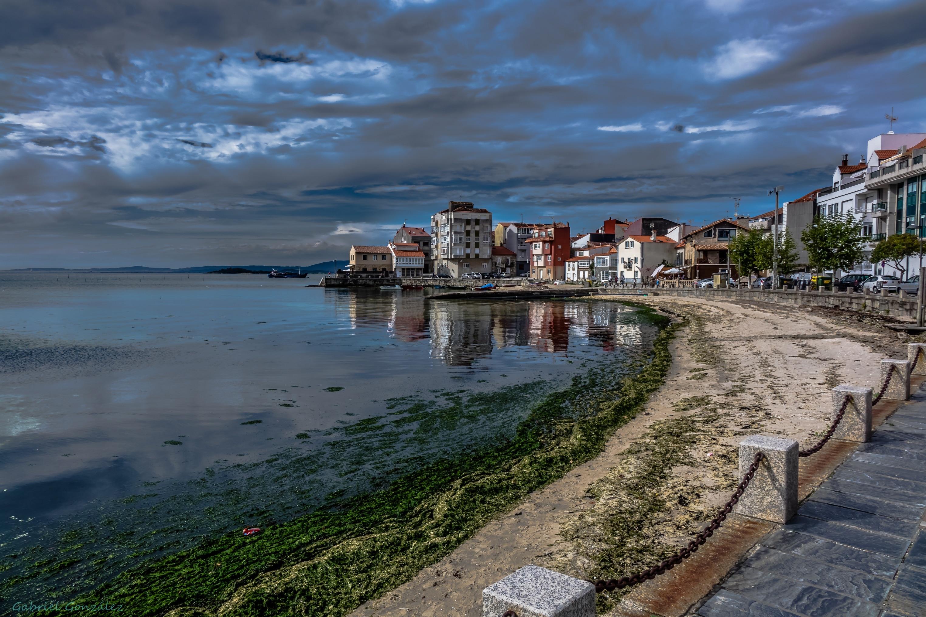 Strand von Compostela, Vilagarcía de Arousa, Galizien, Spanien