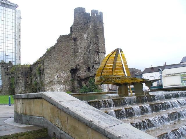Swansea Castle, Swansea, Wales, Großbritannien