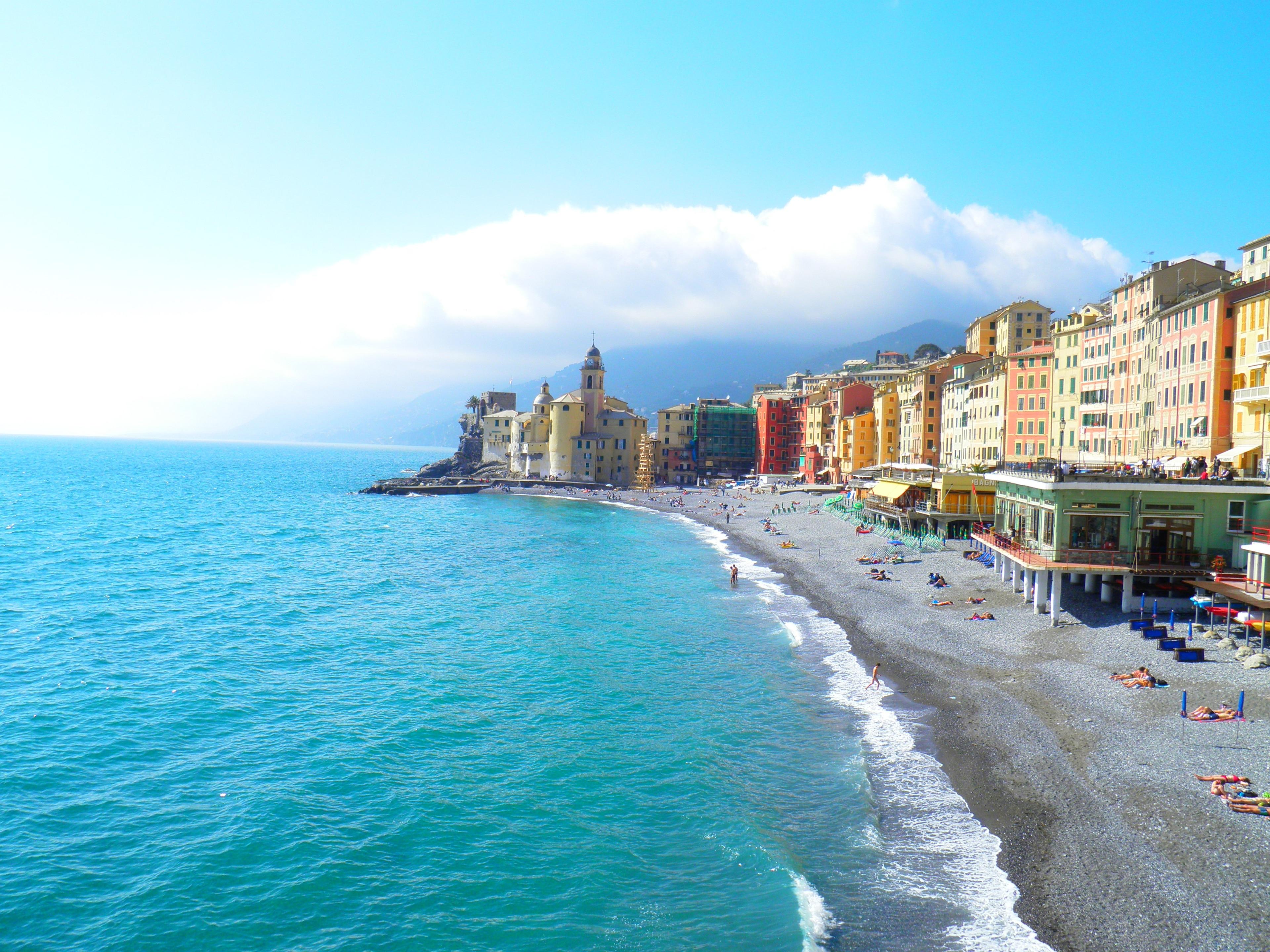 Strand van Camogli, Camogli, Ligurië, Italië