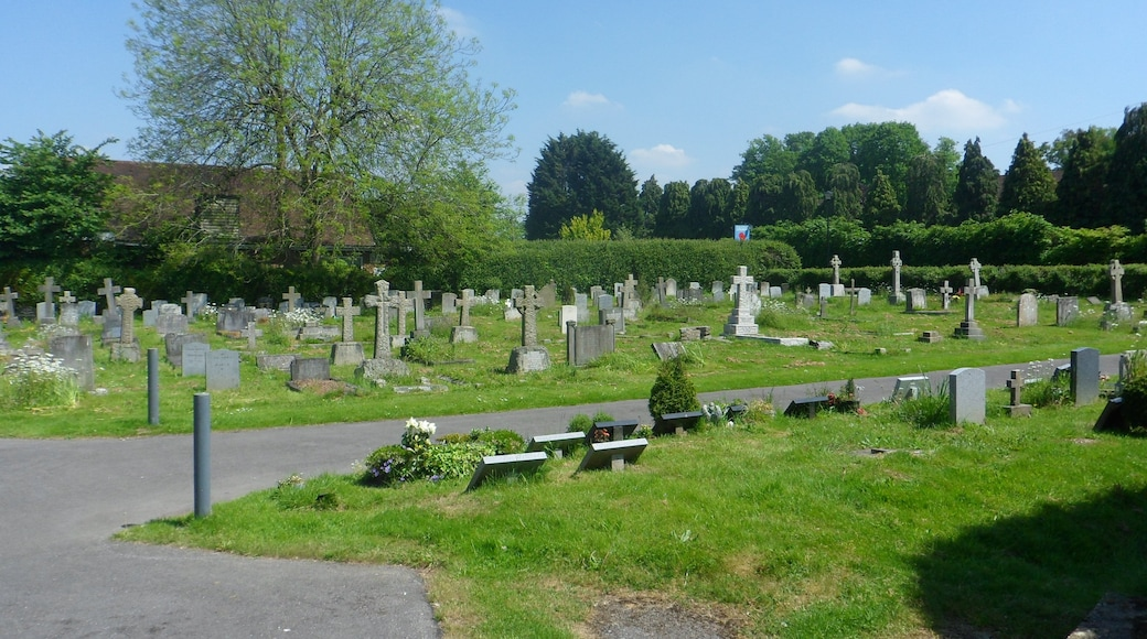 Churchyard of the Church of Our Lady of Sorrows, Lower Road, Effingham, Borough of Guildford, Surrey, England.