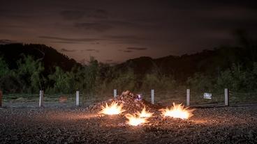 กองไฟจากก้อนหิน/
