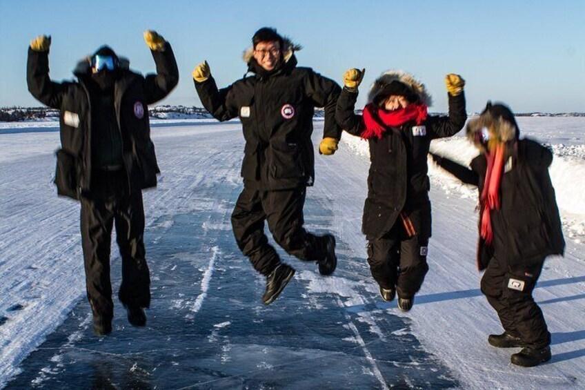 Yellowknife ice road on Great slave lake