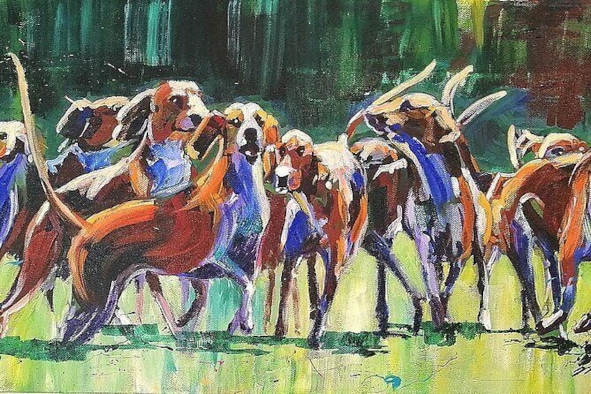 Show item 5 of 6. Hounds in acrylic