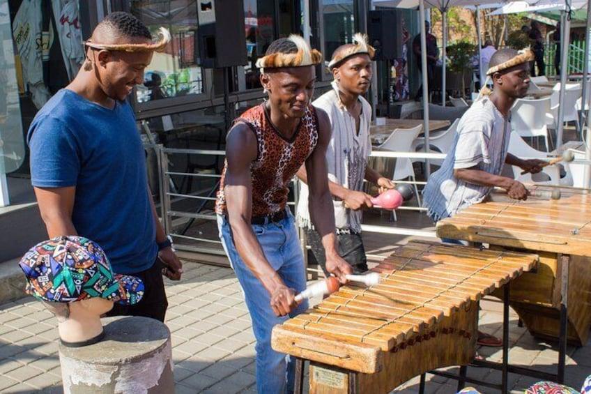 In Soweto Vilakazi street with the Umlilo Marimba Band