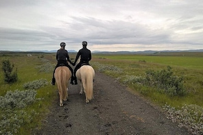 Horseback riding in the Icelandic meadows with mountain view