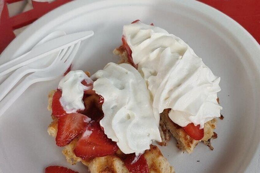 Show item 4 of 19. Strawberry & Cream waffles