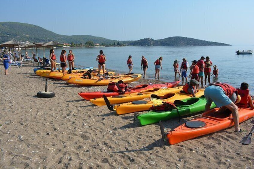Show item 5 of 8. Epidavros sea kayak at the Ancient sunken city tour, small ancient theater