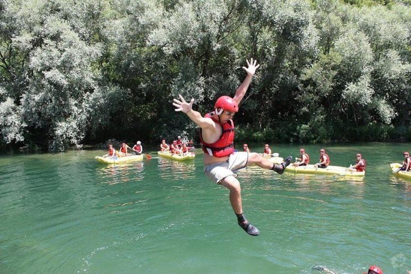 Swimming break on rafting tour, Cetina river