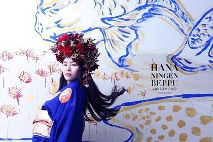 PREMIUM Course : Kimono Rental, Makeup & HANANINGEN Flower Hairdo Photoshoot
