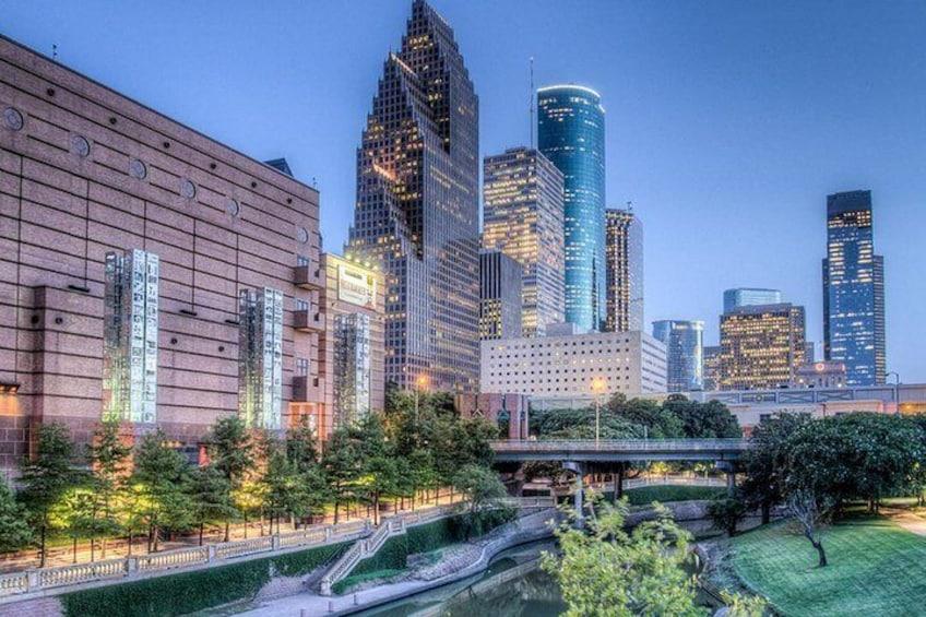 Enjoy views of downtown Houston.