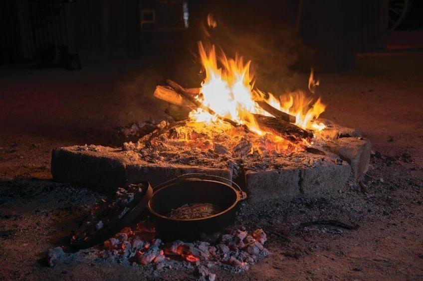 Enjoy billy-tea and damper around the campfire