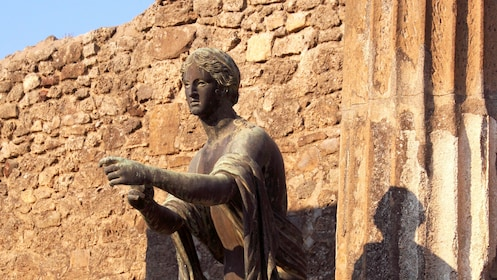 Closeup of an ancient statue in Pompeii.
