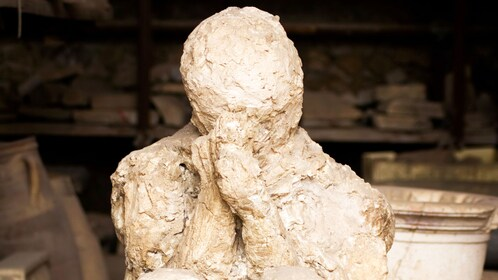 Closeup of a fossilized victim of Mount Vesuvius' eruption onto Pompeii.