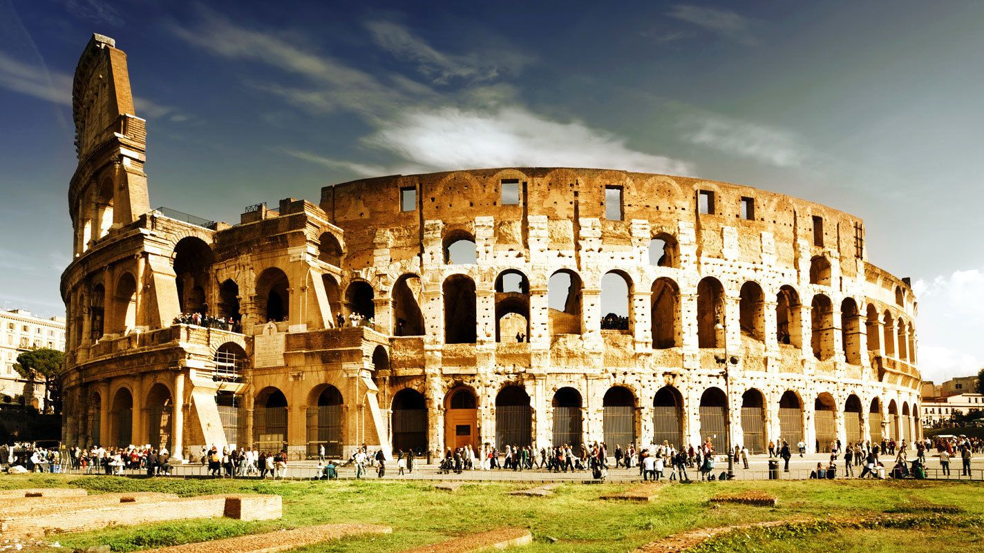 Exterior photo of the Colosseum.