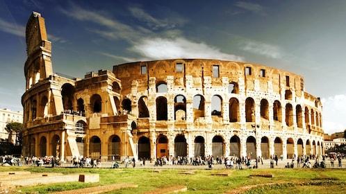 Exterior photo of the Colosseum.