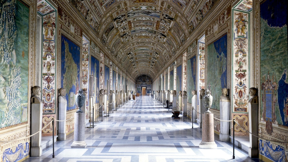 Show item 1 of 10. Interior photo of a hallway inside the Vatican.