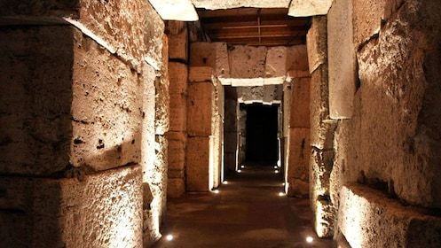 Night shot in the interior of a building in Rome