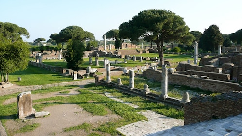 View of Roman statues in Ostia Italy