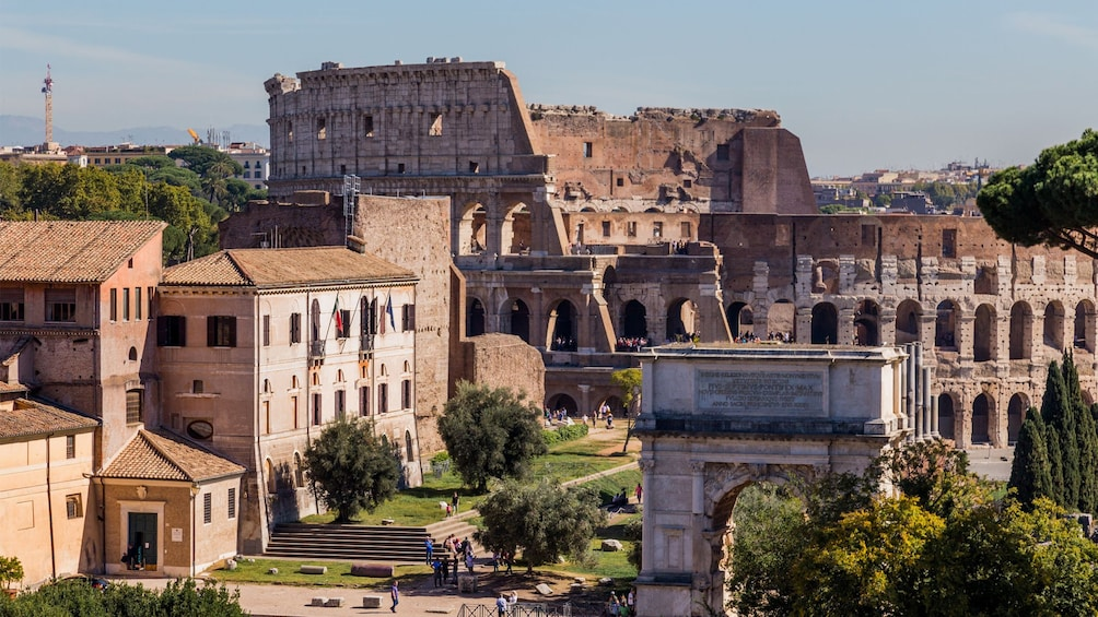 Landscape day view of the  Colosseum in Rome