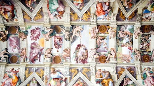 Paintings inside the Sistine Chapel in Rome Italy
