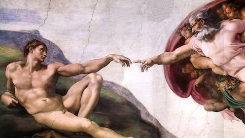 View of Michelangelo's Creation of Adam painting inside the Sistine Chapel in the Vatican in Rome Italy