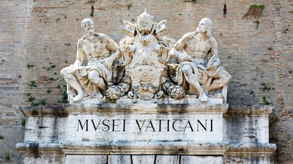 Roof sculpture on top of the Trevi Fountain in the Vatican.