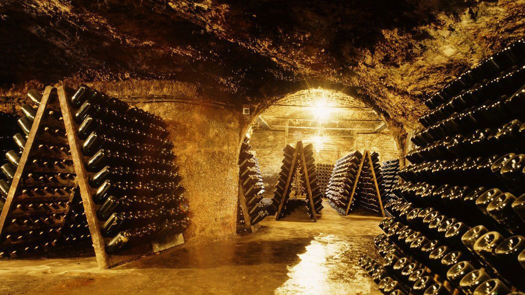Cava wine celler with countless bottles of wine in Barcelona