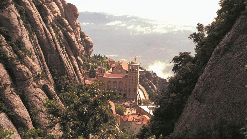 hill top view of Santa Maria de Montserrat Abbey in Barcelona