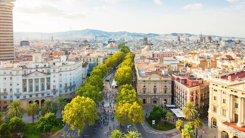 panoramic view of city in Barcelona