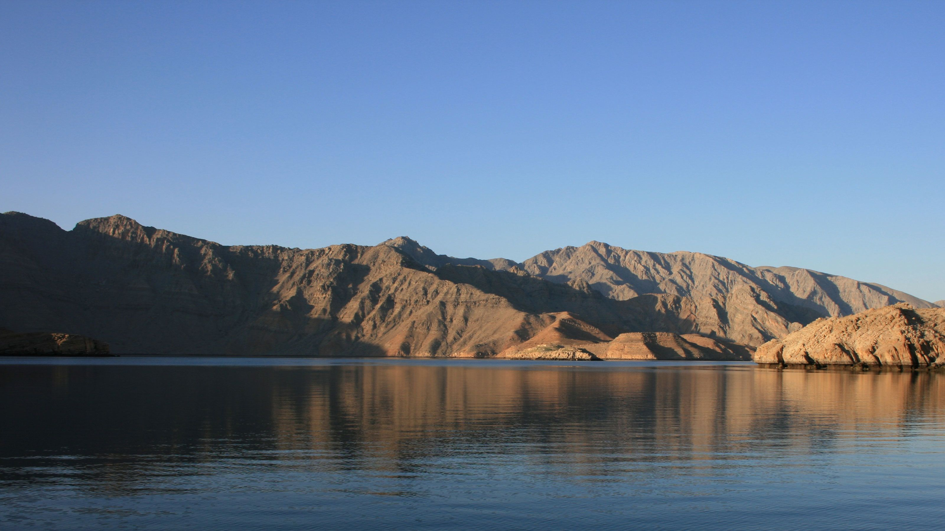 Mountains along the water in Musandam