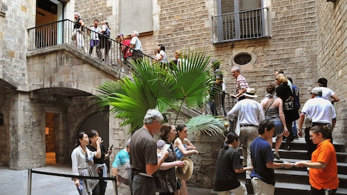 busy street activity outside Picasso Museum in Barcelona
