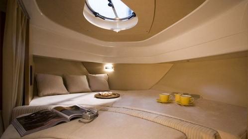 lounge area inside a luxury speed boat in dubai