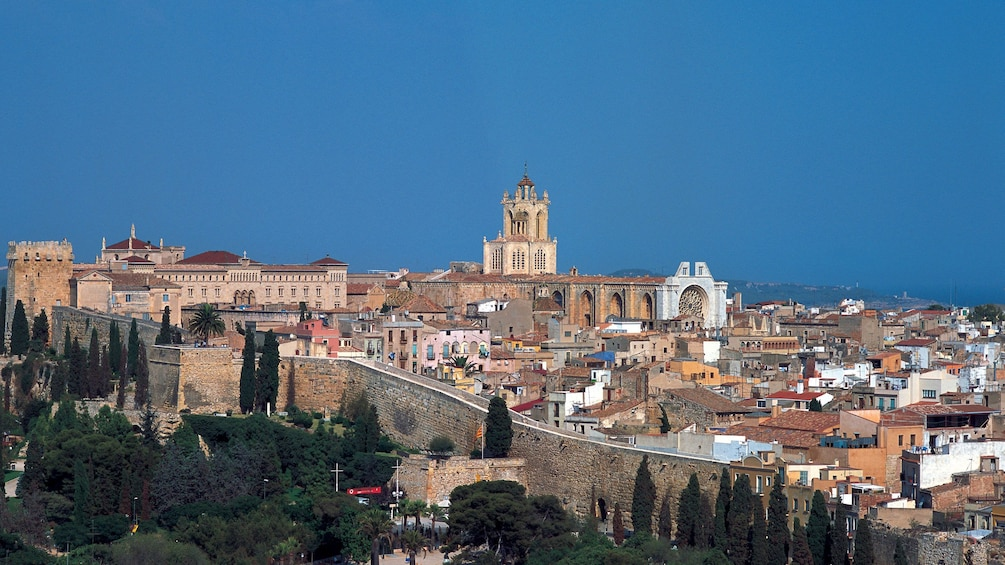 wide view of Tarragona Cathedral church in Barcelona
