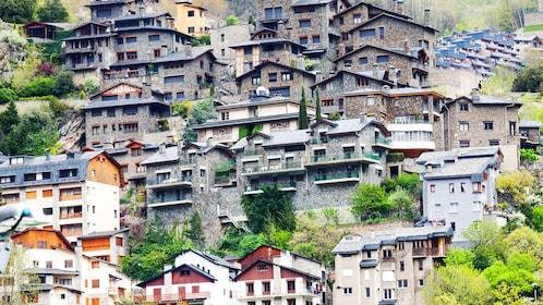 crowded homes in Andorra la Vella in Andorra, Spain