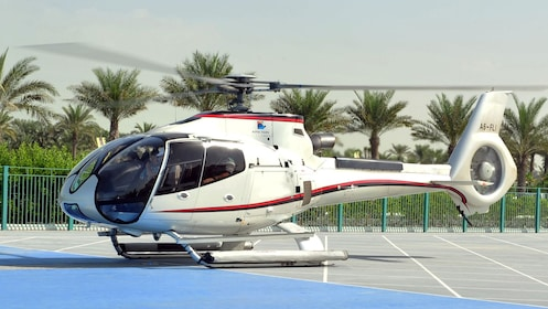 helicopter on landing platform in Dubai