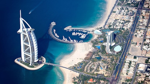 Burj Al Arab hotel seen from far above in Dubai
