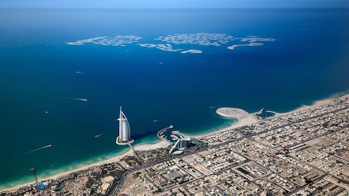 Burj Al Arab hotel from ariel view in Dubai