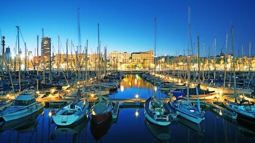 sailboats in Mediterranean marina in Barcelona
