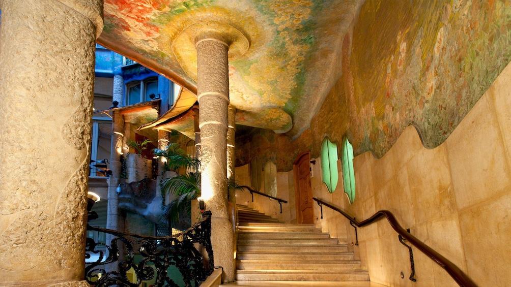 interior staircase inside casa Mila in Barcelona