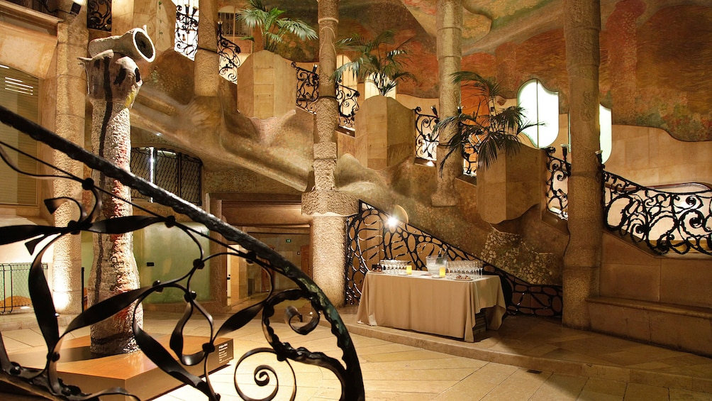 Show item 5 of 5. iron work and stair case inside Casa Milà in Barcellona