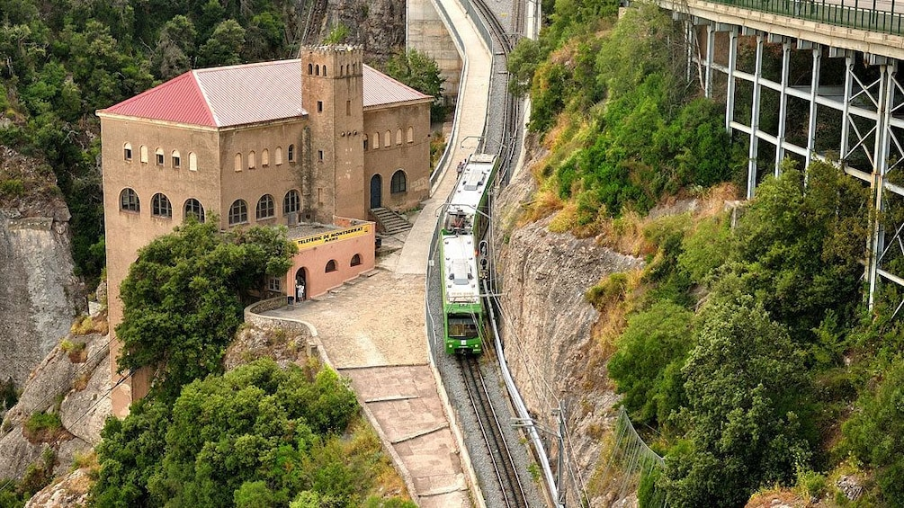Charger l'élément 4 sur 5. trolley stop on hillside in Montserrat, Spain