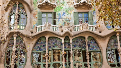 window and patio detail at detail at Casa Batlló Building in Barcelona, Spain